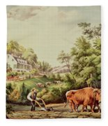American Farm Scenes Fleece Blanket