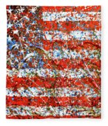 American Flag Abstract 2 With Trees  Fleece Blanket