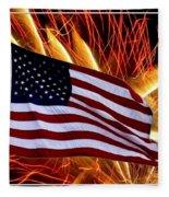 American Flag And Fireworks Fleece Blanket