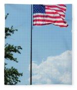 American Flag Flying Proud Fleece Blanket