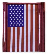 American Flag In Red Window Fleece Blanket