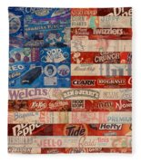 American Flag - Made From Vintage Recycled Pop Culture Usa Paper Product Wrappers Fleece Blanket