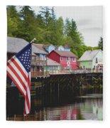 American Flag On Creek Street Ketchikan Alaska Fleece Blanket