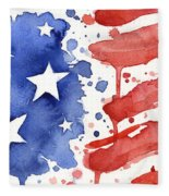 American Flag Watercolor Painting Fleece Blanket