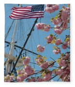 American Flag With Cherry Blossoms Fleece Blanket