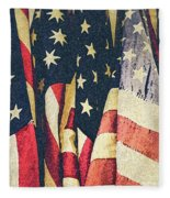 American Flags Painted Square Format Fleece Blanket