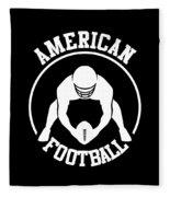 American Football Player With Ball And Helmet Fleece Blanket