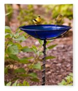 American Goldfinch At Water Bowl Fleece Blanket