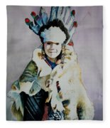 American Indian Girl Fleece Blanket