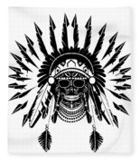American Indian Skull Icon Background, Black And White  Fleece Blanket