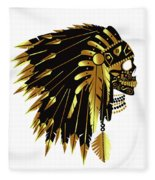 American Indian Skull Icon Background Fleece Blanket