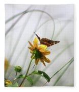 American Lady Butterfly Balancing By The Sea  Fleece Blanket