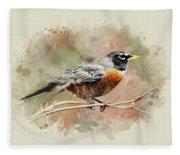 American Robin - Watercolor Art Fleece Blanket