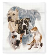 American Staffordshire Terrier Medley Fleece Blanket by Barbara Keith