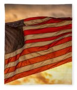 American Sunset On Fire Fleece Blanket