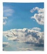American White Pelicans Flying Fleece Blanket