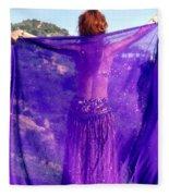 Ameynra Belly Dance. Purple Veil Fleece Blanket