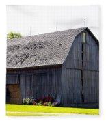 Amish Barn With Gambrel Roof And Hay Bales Indiana Usa Fleece Blanket