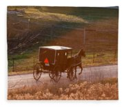 Amish Buggy Afternoon Sun Fleece Blanket