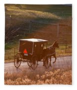 Amish Buggy Afternoon Sun Fleece Blanket