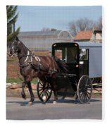 Amish Buggy And High Stepper Fleece Blanket
