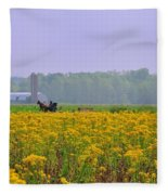 Amish Buggy And Yellow Field Fleece Blanket