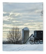 Amish Buggy At Morning Fleece Blanket