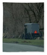 Amish Buggy Parked By A Creek Fleece Blanket