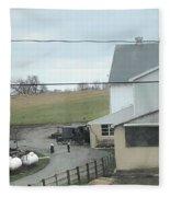 Amish Children Walk To The Barn Fleece Blanket
