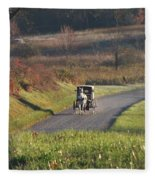 Amish Country Horse And Buggy In Autumn Fleece Blanket