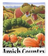Amish Country - Pumpkin Patch Country Farm Landscape Fleece Blanket