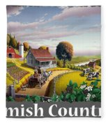 Amish Country T Shirt - Appalachian Blackberry Patch Country Farm Landscape Fleece Blanket
