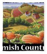 Amish Country T Shirt - Appalachian Pumpkin Patch Country Farm Landscape 2 Fleece Blanket