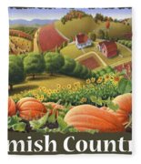Amish Country T Shirt - Pumpkin Patch Country Farm Landscape 2 Fleece Blanket