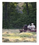 Amish Farmer Raking Hay At Dusk Fleece Blanket