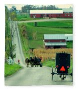 Amish Horse And Buggy Farm Fleece Blanket