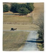 Amish Horse And Buggy On A Country Road Fleece Blanket