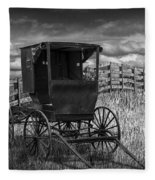 Amish Horse Buggy In Black And White Fleece Blanket