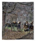 Amish Horses In Harness Fleece Blanket