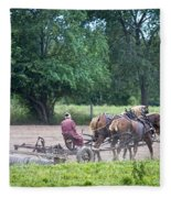 Amish Lady Disking Fleece Blanket