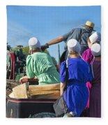 Amish On Steam Engine Fleece Blanket