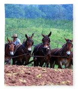 Amish Plowing The Fields With Mules Fleece Blanket