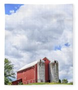Amish Red Barn And Silos Fleece Blanket