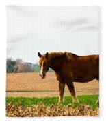 Amish Work Horse Fleece Blanket