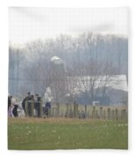 Amish Youth Gather After A Volleyball Game Fleece Blanket
