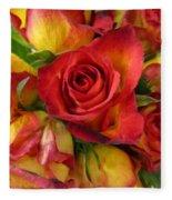Among The Rose Leaves Fleece Blanket