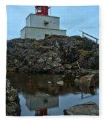 Amphitrite Point Lighthouse Reflections Fleece Blanket