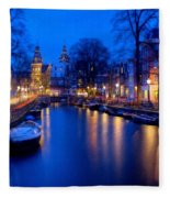 Amsterdam - A Canal Scene At Night . L B Fleece Blanket