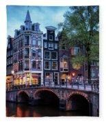 Amsterdam At Twilight Fleece Blanket