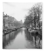 Amsterdam Canal Black And White 2 Fleece Blanket
